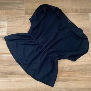 BANANA REPUBLIC navy blue blouse w/ elastic waist